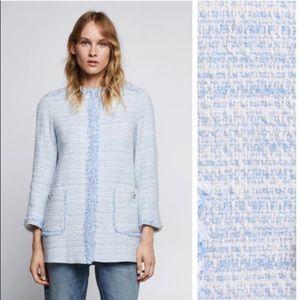 Zara Blue Tweed Frayed Blazer Size S